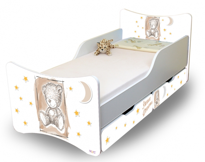 Dětská postel NELLYS Sweet TEDDY s šuplíky - béžová