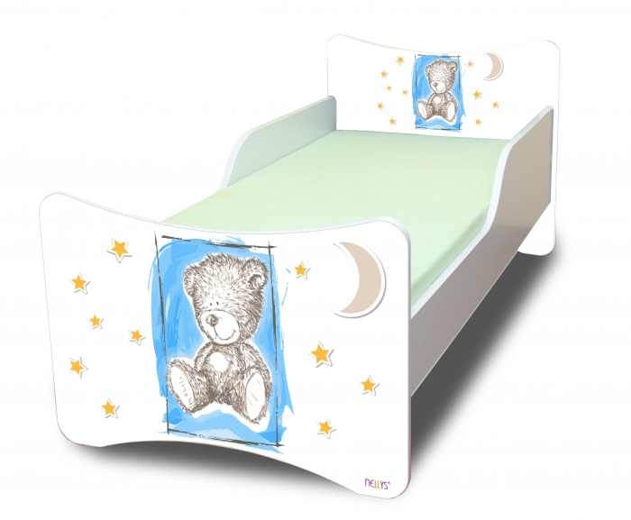 Dětská postel se zábranou Sweet Teddy- modrý, 180x80 cm
