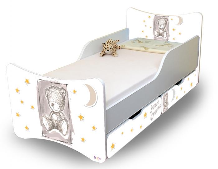 Dětská postel NELLYS Sweet TEDDY s šuplíky - šedý
