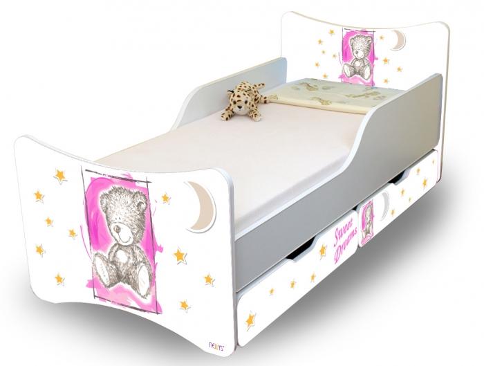Dětská postel NELLYS Sweet TEDDY s šuplíky - růžový