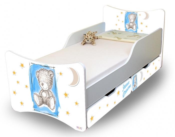 Dětská postel NELLYS Sweet TEDDY s šuplíky - modrý
