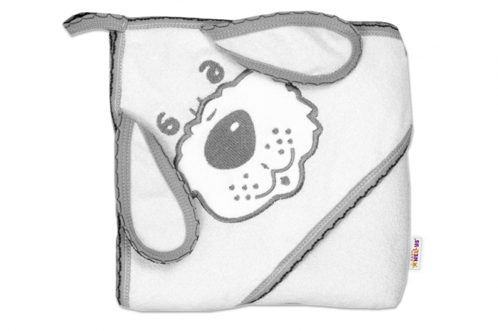 Dětská osuška 80 x 80cm Pejsek s kapucí - bílá