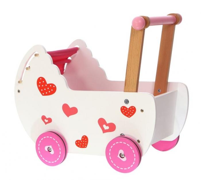 Dřevěný kočárek pro panenky ECO TOYS - růžový