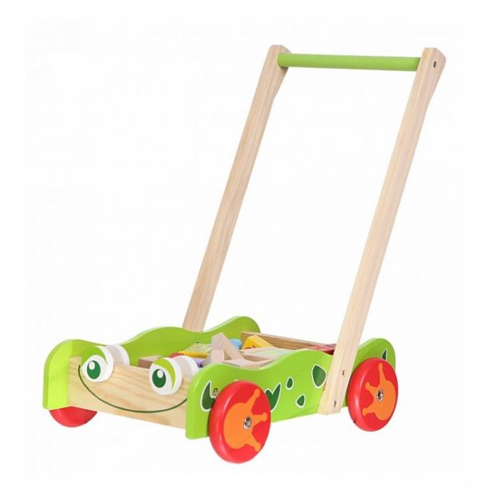 Dřevěný vozík s dřevěnými kostkami ECO TOYS - Žabka ZELENÁ
