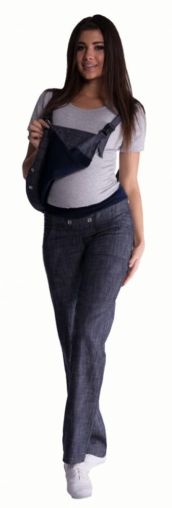 Těhotenské kalhoty s láclem - granátový melírek, vel. XXXL