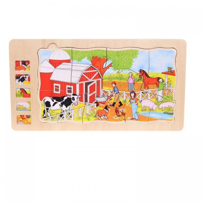 Dřevěné puzzle, vkládačka ECO TOYS 5 vrstev - Farma