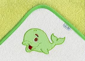 Osuška s kapucí - VELRYBA - zelená