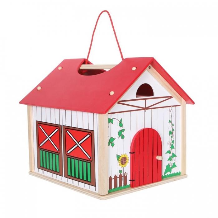 Dřevěný domek, farma ECO TOYS - 14 dílků