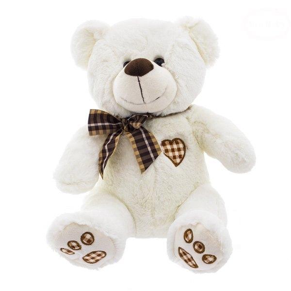Plyšový medvídek 34cm - bílo/smetanový