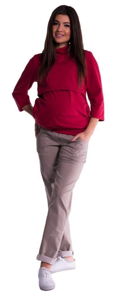 Těhotenské kalhoty letní bez břišního pásu - béžové
