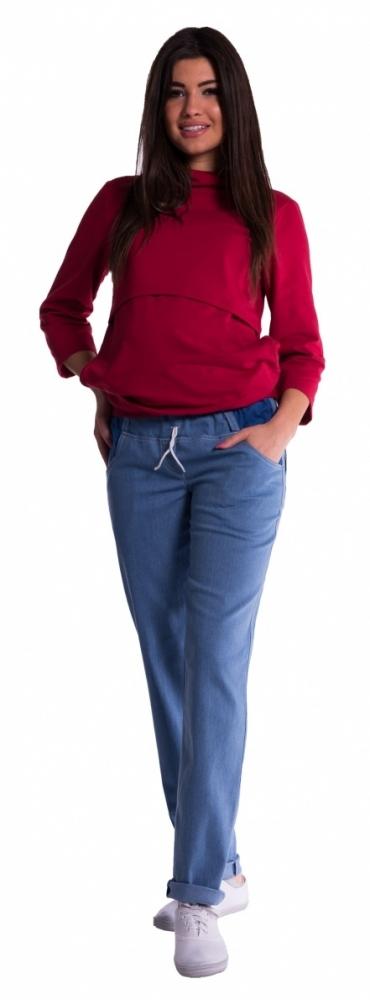 Těhotenské kalhoty letní bez břišního pásu - světlý jeans