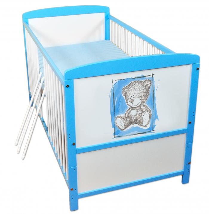 Dřevěná postýlka 2 v 1 Nellys Sweet Dreams by Teddy - modrá/bílá