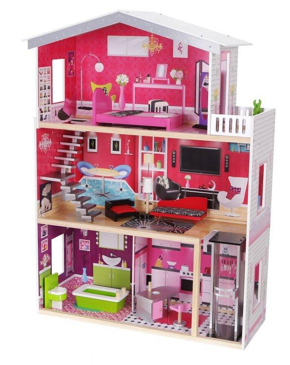 Dřevěný domek pro panenky s výtahem ECO TOYS - Rezidence Malibu