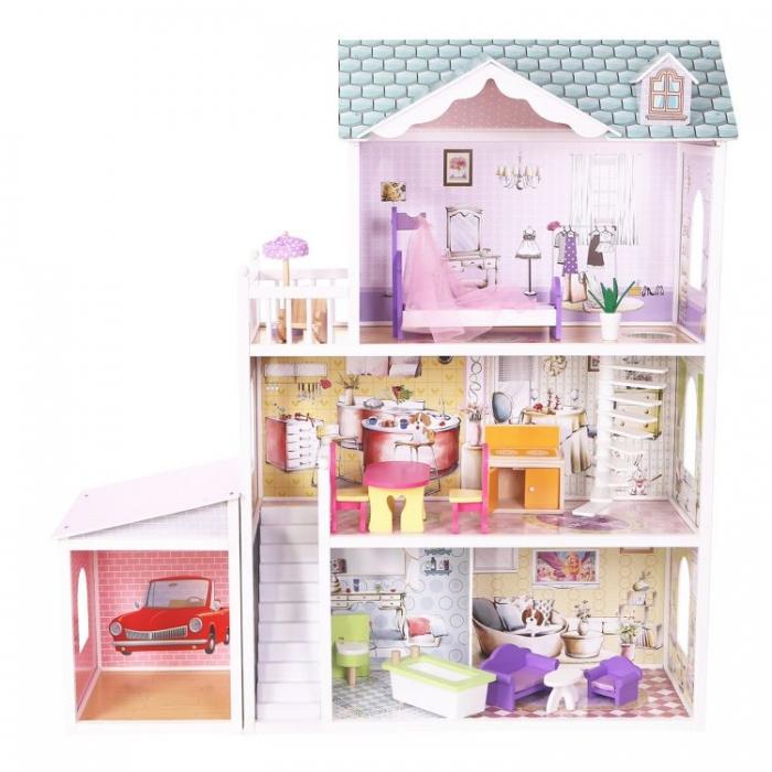 Dřevěný domek pro panenky s garáží ECO TOYS - Rezidence Beverly Hills