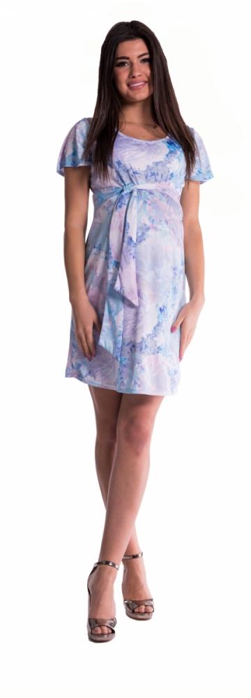 Těhotenské šaty s květinovým potiskem s mašlí - blankyt