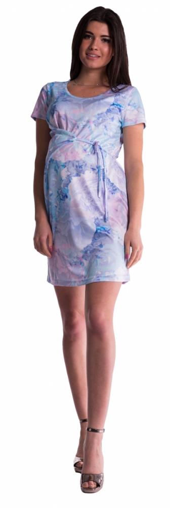 Těhotenské šaty s vázáním s květinovým potiskem - blankyt