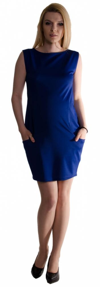 Těhotenské letní šaty s kapsami - tmavě modré 1da5689c3e