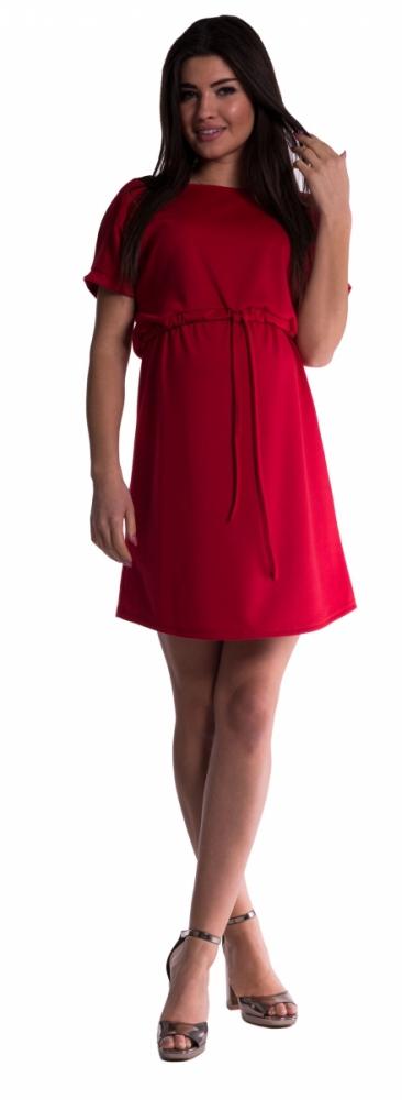 Těhotenské šaty s vázáním - červené fe07ef7ae9