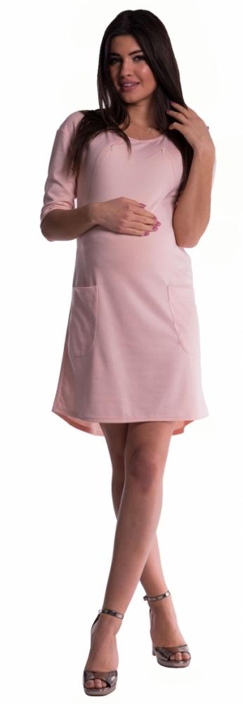 Těhotenské a kojící šaty - pudrově růžové