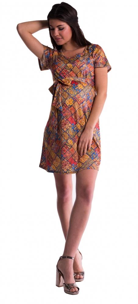 Těhotenské šaty s květinovým potiskem s mašlí - cihlový