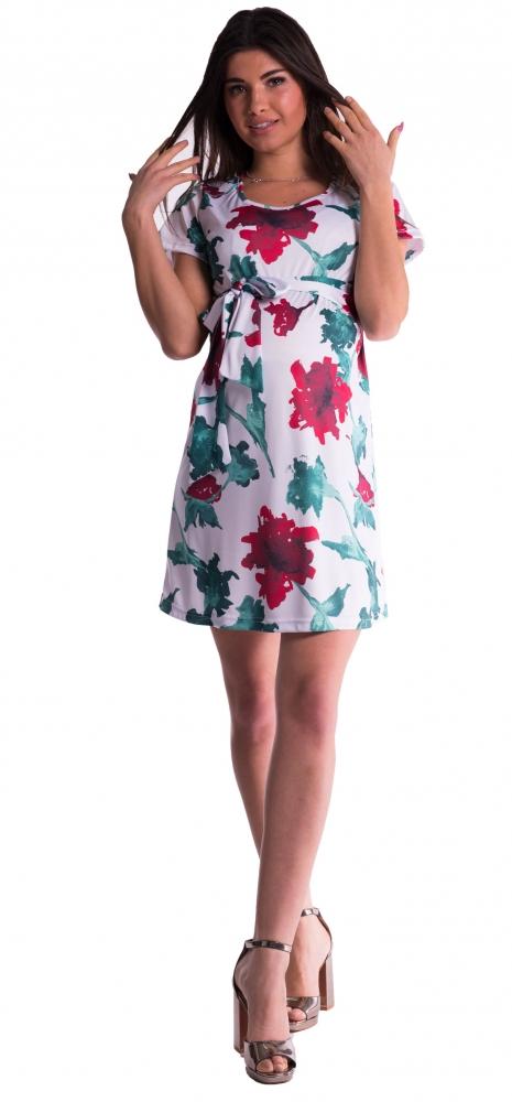 Těhotenské šaty s květinovým potiskem s mašlí - červené