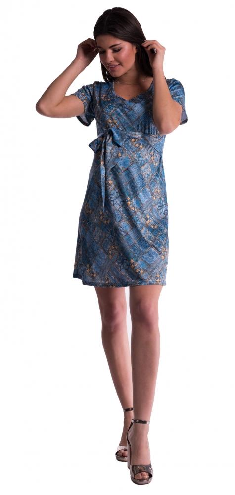 Těhotenské šaty s květinovým potiskem s mašlí - tm. modré