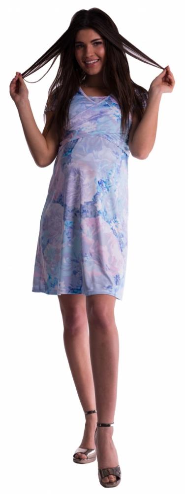 Těhotenské a kojící šaty s květinovým vzorem - modré květy - vel. S