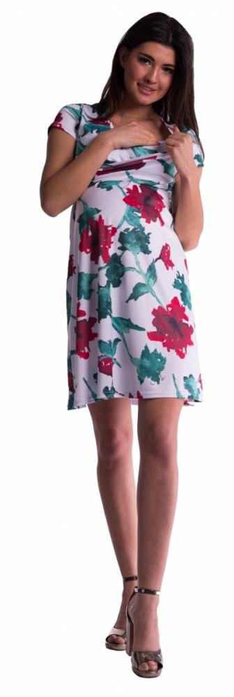 Těhotenské a kojící šaty s květinovým vzorem - červené květy