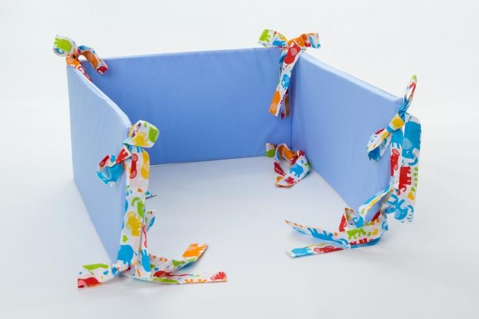 Mantinel na postýlku - modrý, stuhy barevní sloni