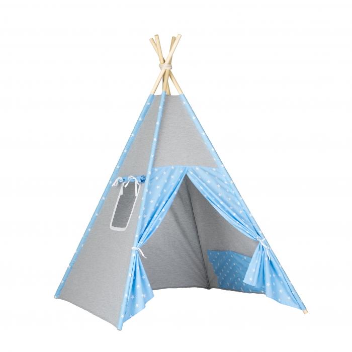 Stan pro děti teepee, týpí - šedý / modrý - hvězdičky bílé