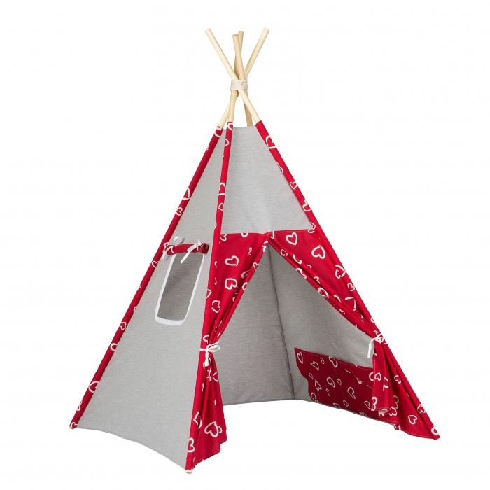 Stan pro děti teepee, týpí - šedý / srdíčka červená