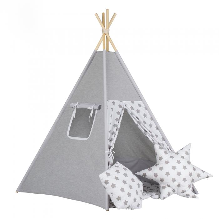 Stan pro děti teepee, týpí - šedý /bílý - hvězdy šedé