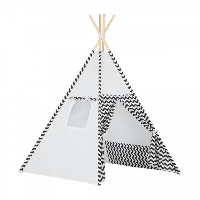 Stan pro děti teepee, týpí - bílý /zigzag černý
