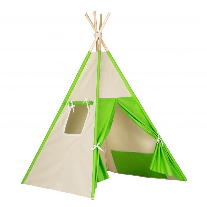 Stan pro děti teepee, týpí - béžový /zelený
