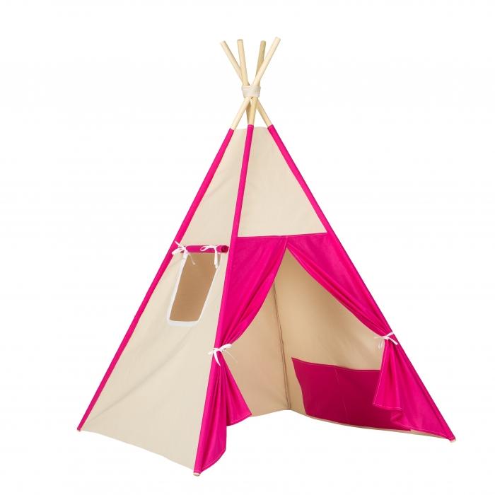 Stan pro děti teepee, týpí - béžový /tm. růžový