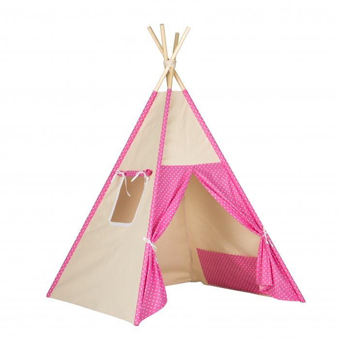 Stan pro děti teepee, týpí - béžový /růžový - tečky bílé