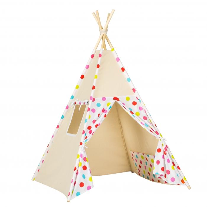 Stan pro děti teepee, týpí - béžový /barevné puntíky