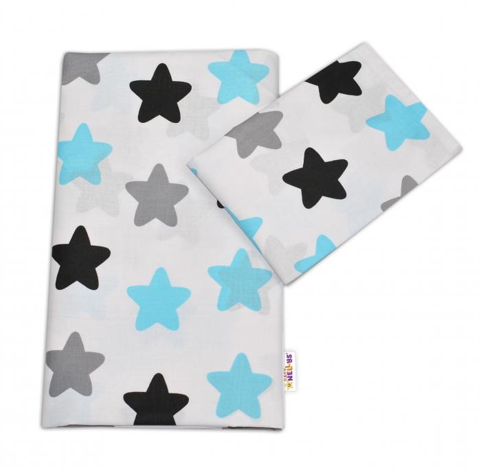 Bavlněné povlečení Baby Nellys ®- Barevné hvězdičky - modré