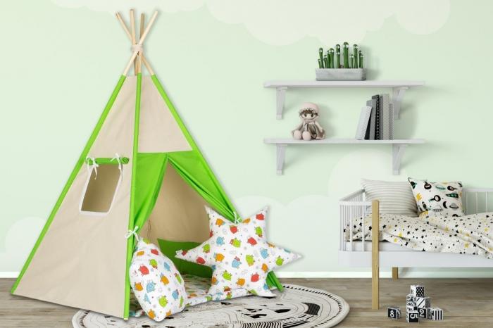 Stan pro děti teepee, týpí s výbavou - béžový / barevné ovečky