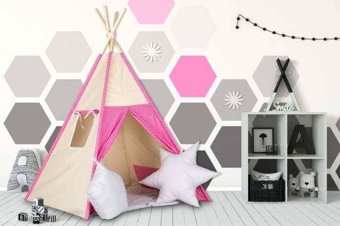 Stan pro děti teepee, týpí s výbavou - béžový /malina s puntíky,šedé