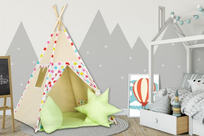 Stan pro děti teepee, týpí s výbavou - béžový / barevné puntíky