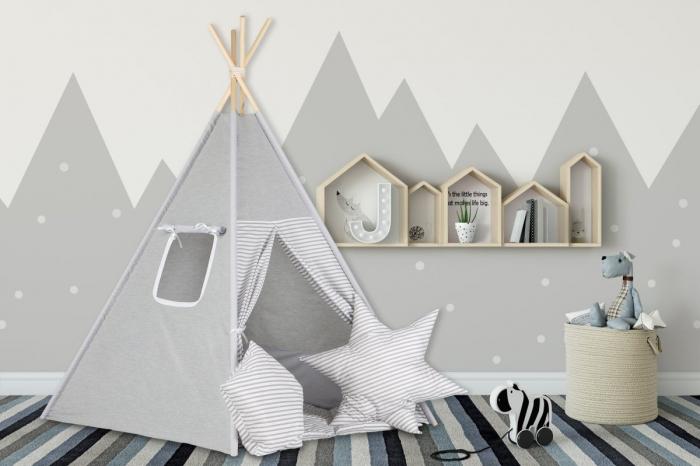 Stan pro děti teepee, týpí s výbavou - šedý / šedé pásky