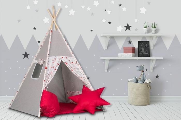 Stan pro děti teepee, týpí s výbavou - šedý / Jeníček a Mařenka, červený