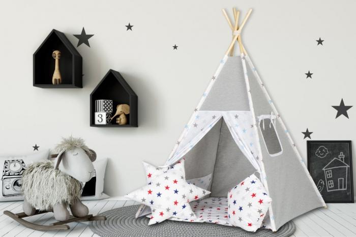 Stan pro děti teepee, týpí s výbavou - šedý / barevné hvězdičky