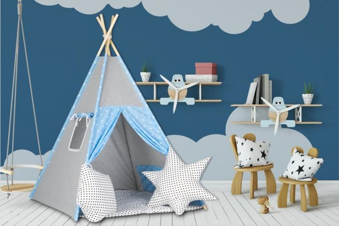 Stan pro děti teepee, týpí s výbavou - šedý / hvězdičky v modré, puntíky