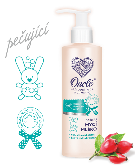 Prémiové mycí mléko na tělo a vlásky Onclé s BIO šípkovým olejem, 200 ml