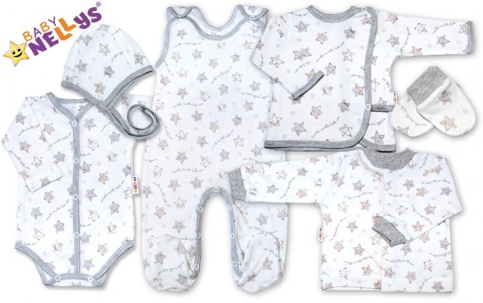 Soupravička pro předčasně narození miminka do porodnice 7D Baby Nellys ®- Hvězdičky šedé