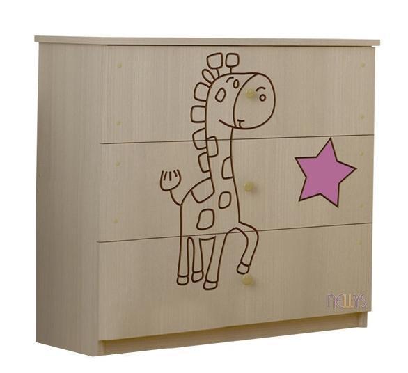 Dětská komoda - Žirafka růžová