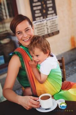 Little FROG Tkaný šátek na nošení dětí - SANDY AMMOLITE