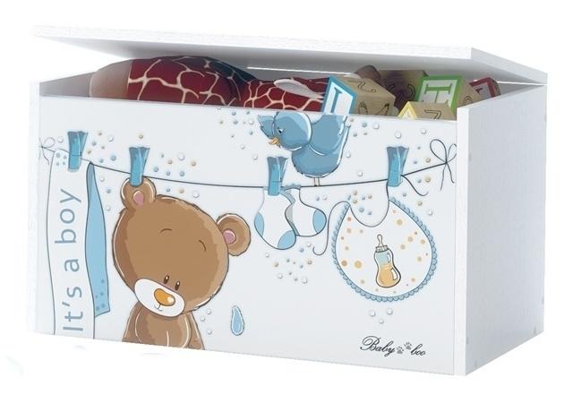 Box na hračky, truhla Medívek Ouško sm. modré s bílou